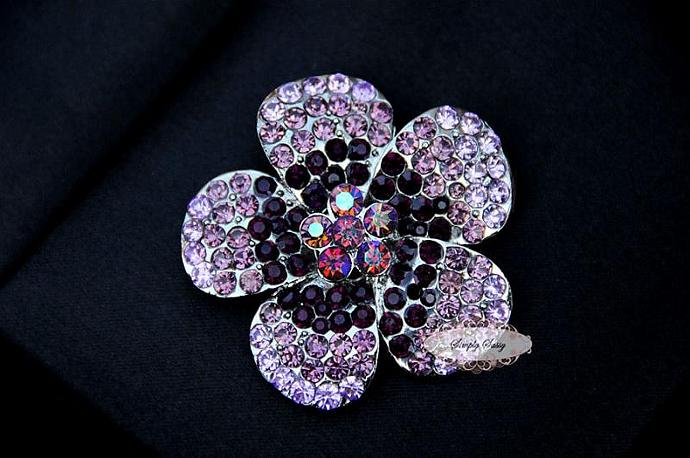 RD252 Purple Lavender Large Flower Rhinestone Brooch Pin Crystal Metal