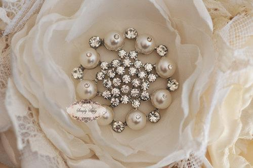 5pcs RD170 Pearl Rhinestone Crystal Metal Embellishment Flatback Brooch wedding