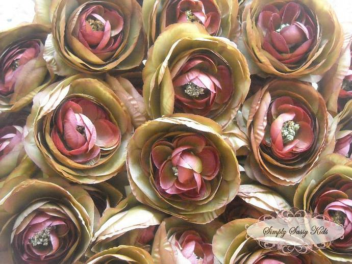 2 pcs Coffee Color Silky Soft Ranunculus Artificial Flower Heads Color 3.5in DIY