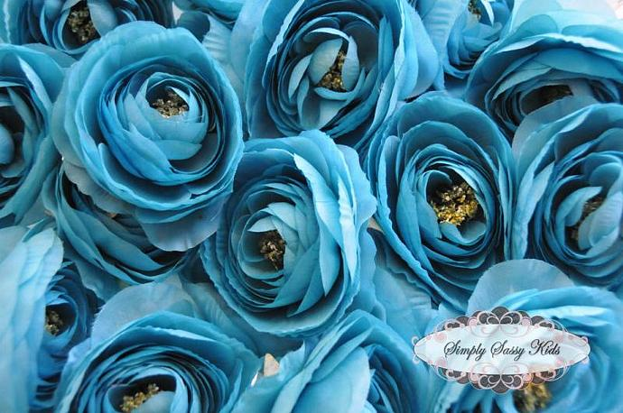2 pcs Turquois Silky Soft Ranunculus Artificial Flower Heads Color 3.5in DIY