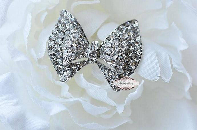 Rhinestone Crystal Bow in CLEAR Flatback Metal Brooch Button Embellishment DIY
