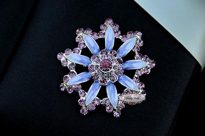 RD254  Large PURPLE Flower Rhinestone Flatback Crystal Metal Embellishment