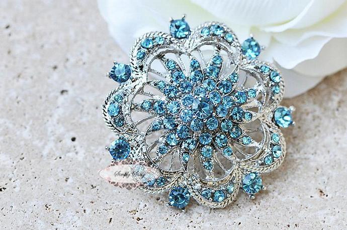 Tiffany Blue Rhinestone Brooch Pin Wedding Bridal Statement Necklace Jewelry