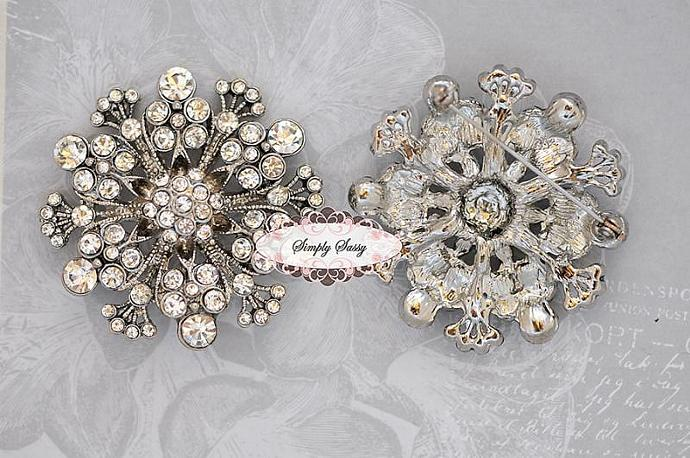 4pcs Rhinestone Brooches Pins Clear Crystal Bridal Wedding Jewelry Brooch Pin