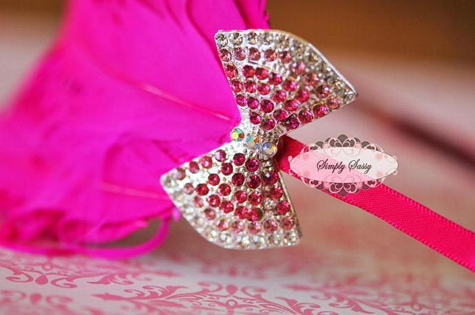 Rhinestone Crystal Bow in PINK Flatback Metal Brooch Embellishment Adornment -