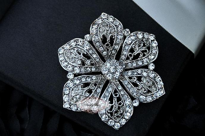 RD234 Crystal Glass Rhinestone Gorgeous Rhinestone Brooch Wedding Bridal