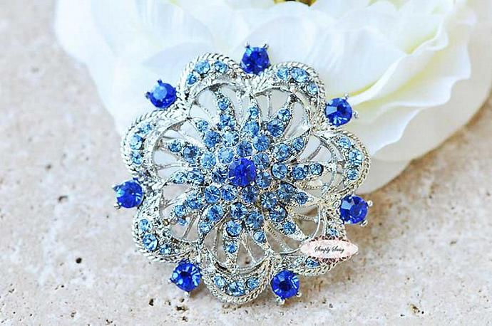 Sapphire Blue Rhinestone Brooch Pin Wedding Bridal Statement Necklace Jewelry