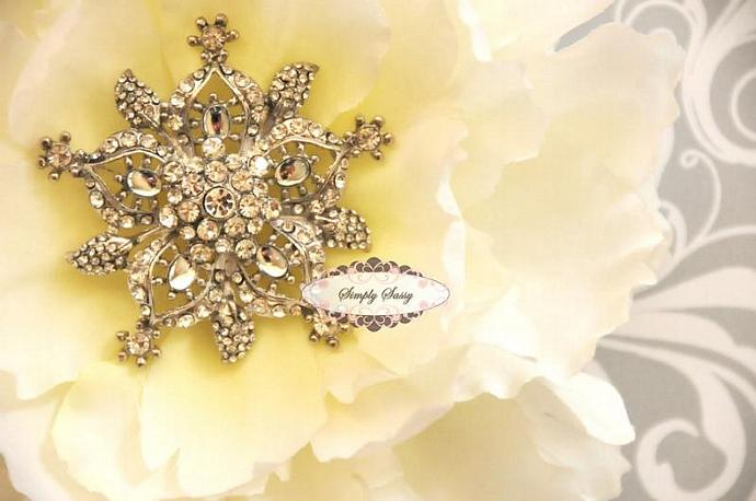 RD108 Large Rhinestone Metal embellishment button brooch DIY wedding accessories