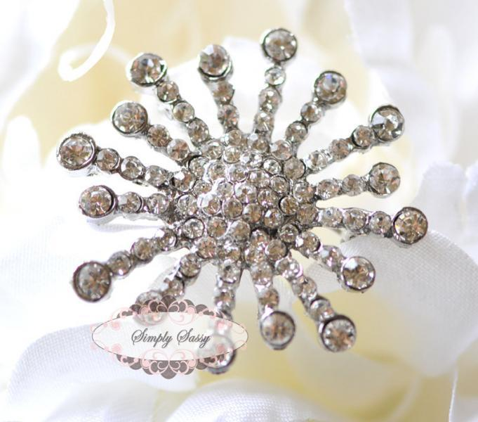 RD202 Brooch Pin Rhinestone Crystal Metal Flatback Embellishment Button Brooches