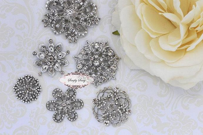 5pcs RD158 Rhinestone Crystal Metal FLATBACK Embellishment Button Brooches