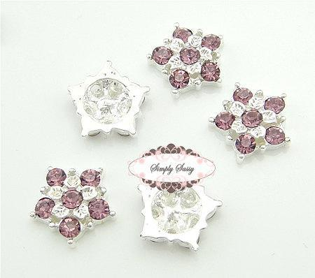 20pcs RD99 Lavender 17mm Rhinestone Metal Embellishment Button Brooch Flatback