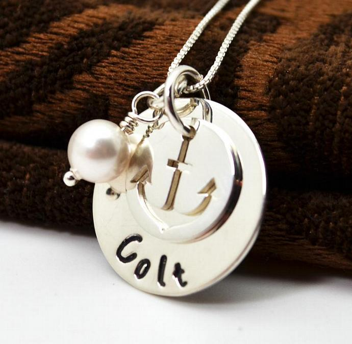 New Baby Boy Mommy Necklace, Hand Stamped Mothers Necklace, Personalized Anchor