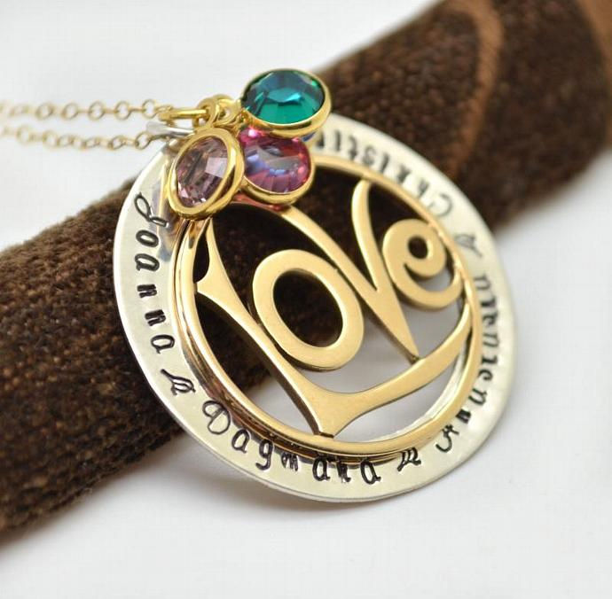 Personalized Love Necklace, Family Necklace, Gift for Her, Mothers Necklace,