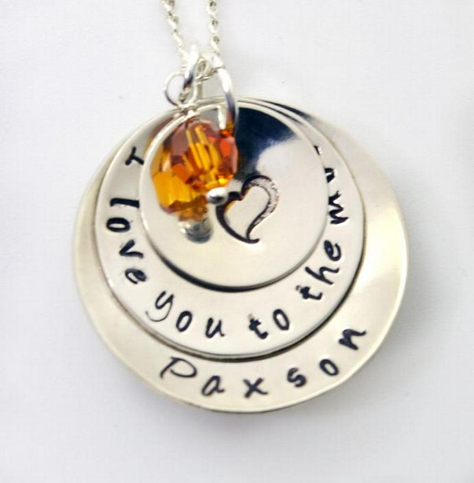 Personalized Mommy Necklace, I Love You To The Moon, Hand Stamped Mother