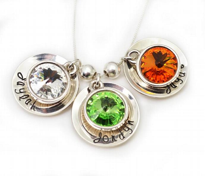 Rivoli Birthstone Personalized Necklace, Hand Stamped Necklace, Personalized