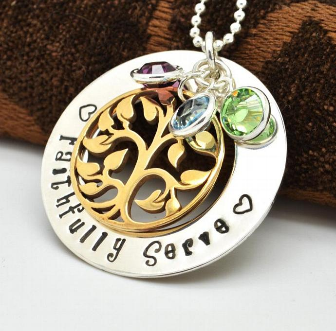 """Personalized Necklace, """"Faithfully Serve"""", Gift for Her, Hand Stamped Jewlery"""