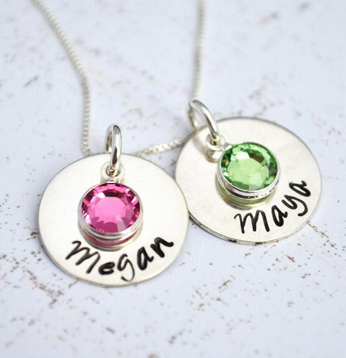 Birthstone Necklace, Personalized Hand Stamped Personalized Necklace Bridal Gift