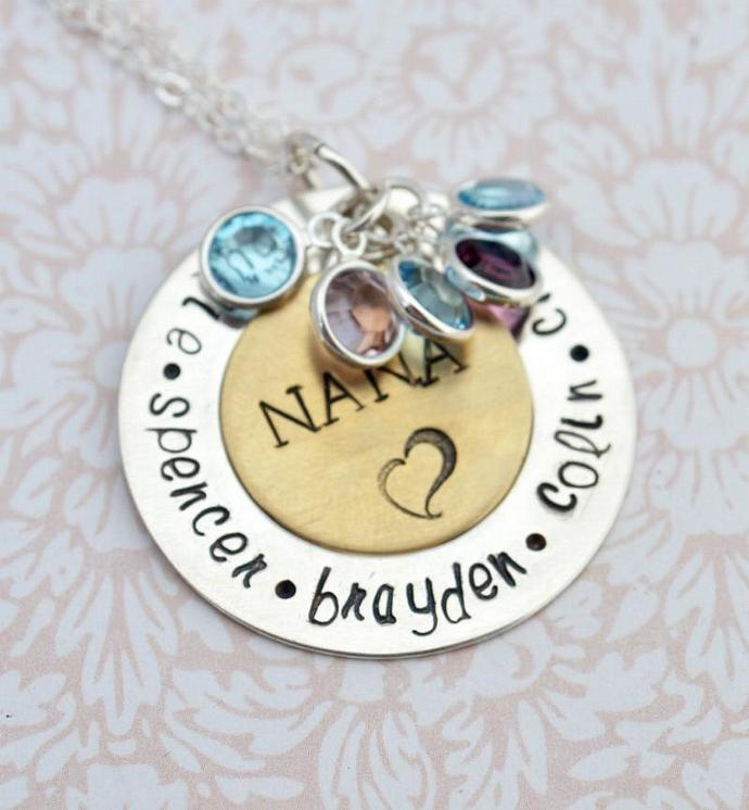 nana pendant with birthstones family by loveitpersonalized on zibbet