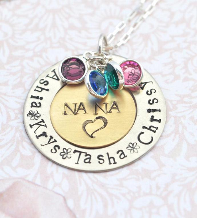Grandmother Family Necklace with Birthstones, Personalized Jewelry Gift, Gift