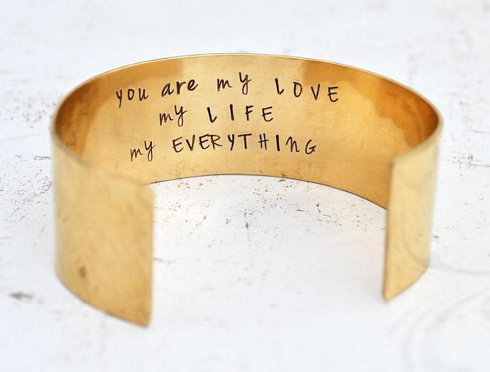 Wide Brass Cuff Bracelet, Personalized, Bridesmaids Gift, Hidden Message,