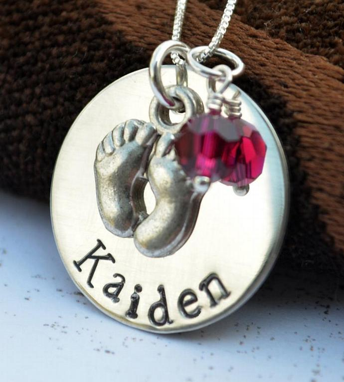Personalized Mommy Necklace, Baby Necklace with Footprint Charm, Personalized