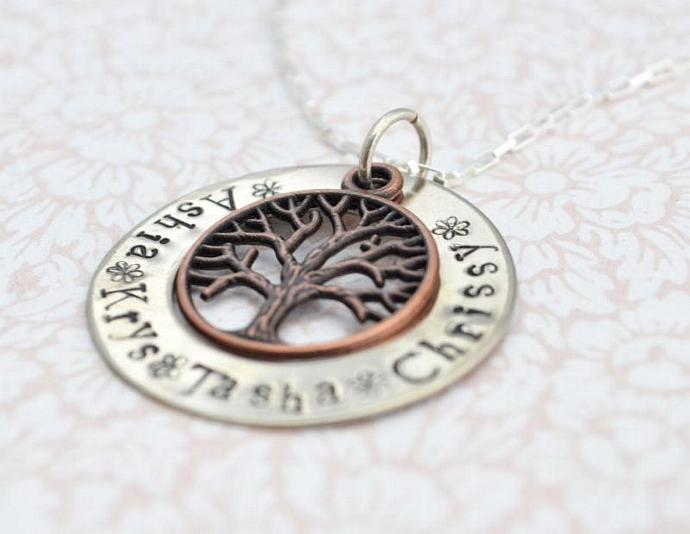 Personalized Brass Family Tree Necklace, Grandmother, Mothers Day, Gift for Mom,