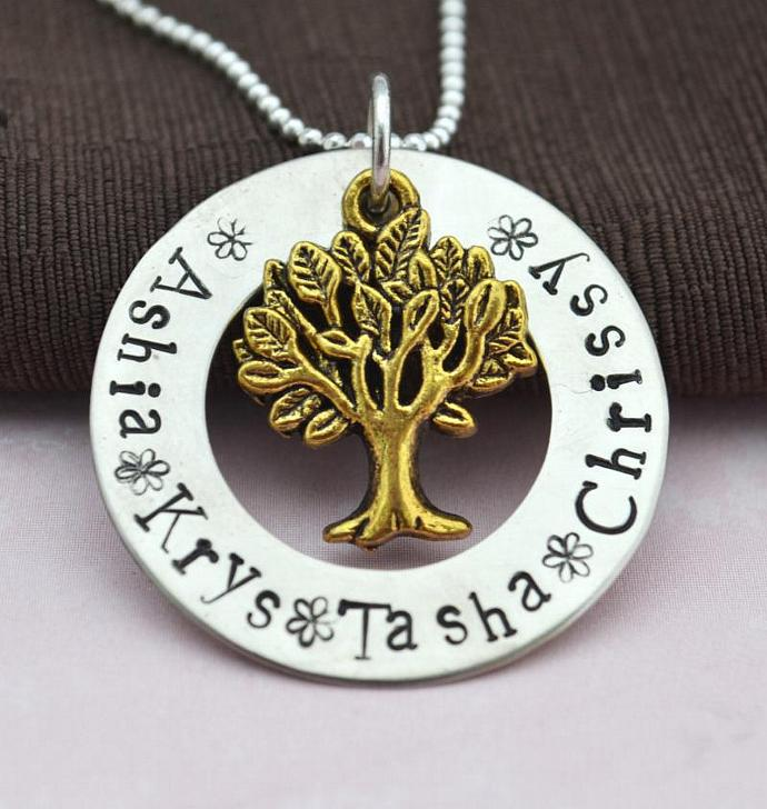 Personalized Family Tree Necklace, Family Tree Necklace, Hand Stamped, Gift for
