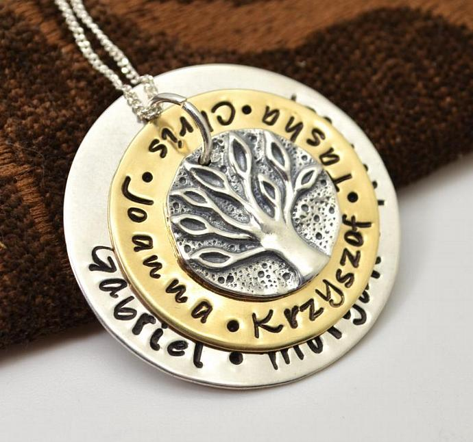 Ancient Family Tree Personalized Gold Filled Necklace, Mothers Necklace, Family