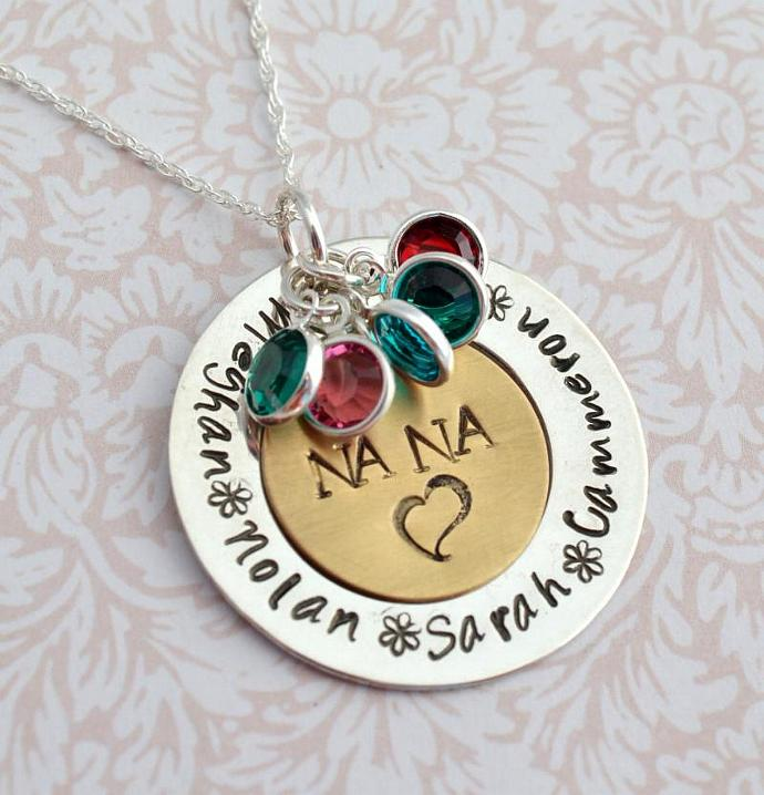 Personalized Nana Necklace with Birthstones, Family Necklace, Gift for Her,