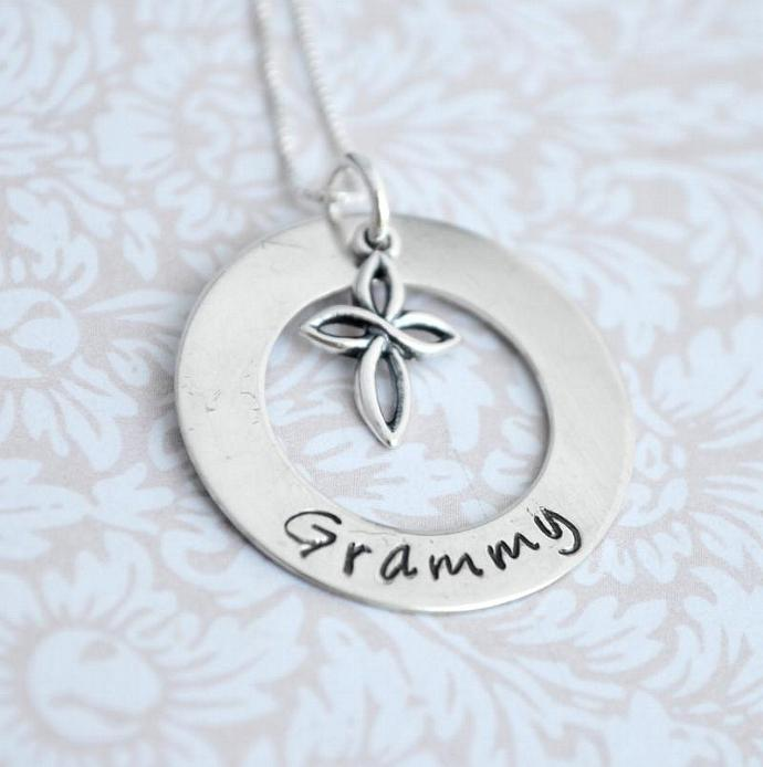 Hand Stamped Necklace - Personalized Jewelry - Cross - Religious - First