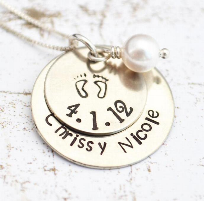 Mother Necklace, Baby Feet Necklace, Personalized Necklace, Gift, Mother, New