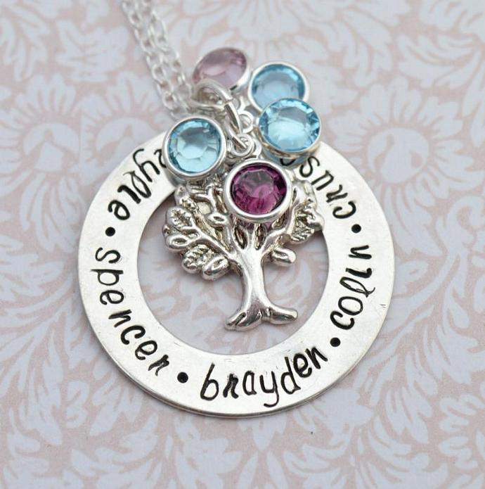Personalized Hand Stamped Jewelry, Family Tree Necklace, Personalized Necklace,