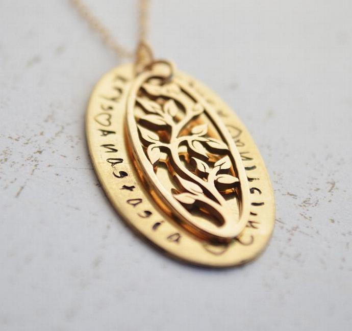 Gold Personalized Tree of Life Family Necklace - Hand Stamped, Our Family, Gift