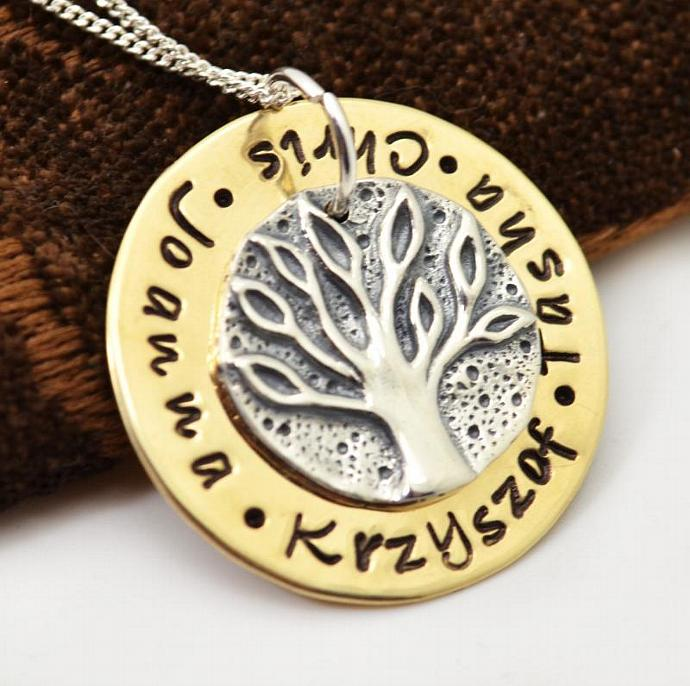 Ancient Family Tree Coin Personalized Necklace, Mothers Necklace, Family