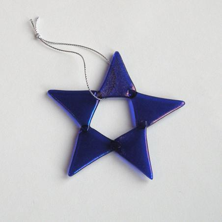 Iridescent Cobalt Blue Glass Star Handmade for the Holidays