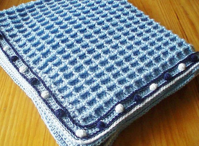 Crochet Pattern For Waffle Weave Baby Blanket By