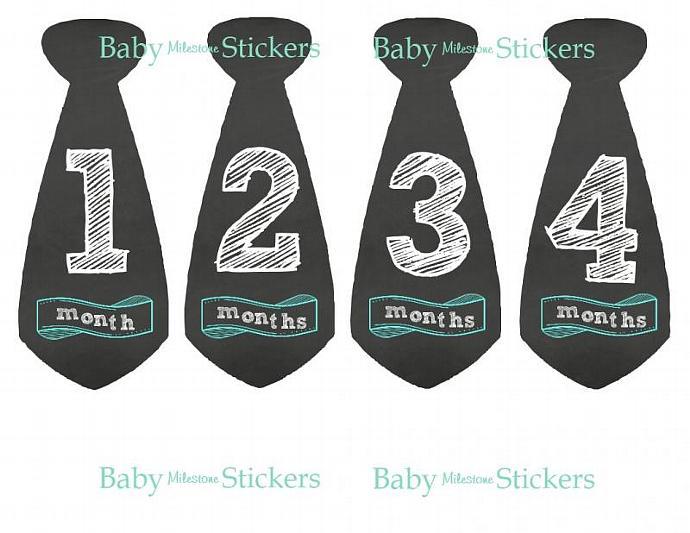Baby Boy Bodysuit Monthly Chalkboard Tie Stickers Keepsake Shower Gift Month