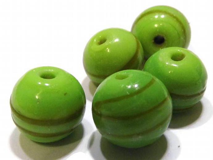 2 Round Lime Green Striped Gold Lampwork Beads