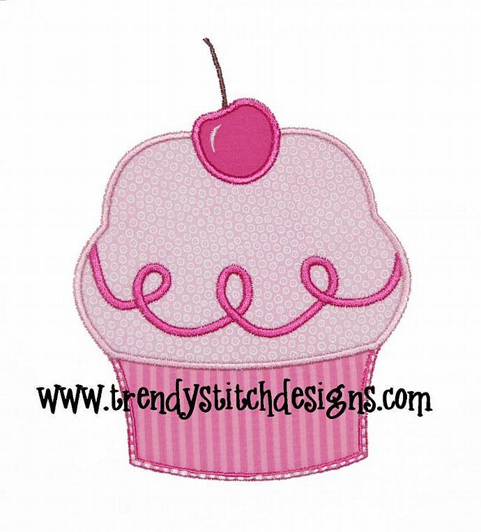 Pink Cupcake Applique Design Machine Embroidery Design Birthday INSTANT DOWNLOAD