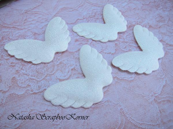 Puffy Angel Wings Doll Parts Embellishment - Iridescent White, Gold