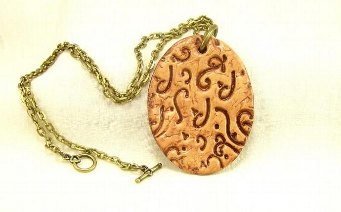 Western Pendant Necklace, Polymer Clay