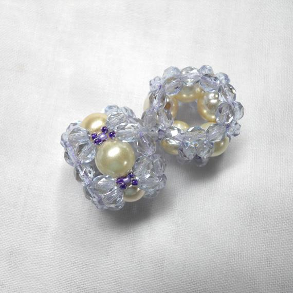 Pale Lavender and Creamy Pearl Hand Woven Beaded Beads