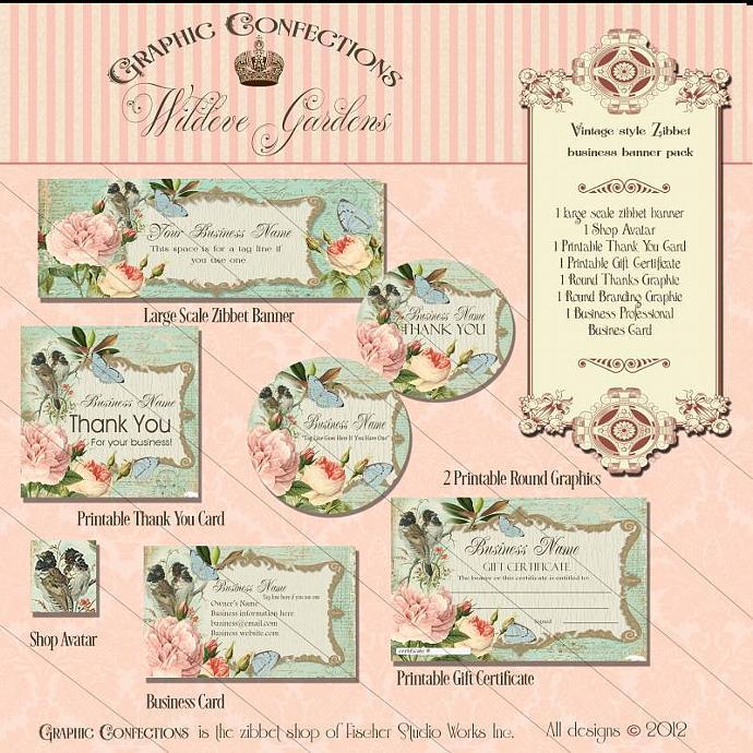 Pre-made Custom Zibbet Shop Banner Set, includes business card design, gift