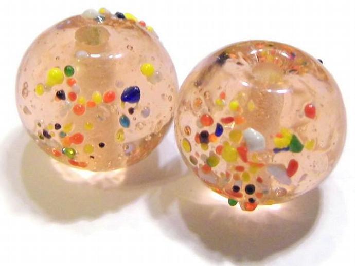 2 Round Pink Confetti Beads Lampwork Glass Beads
