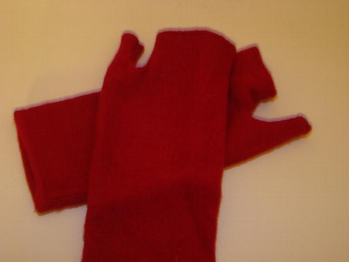 Felted Wool Red Fingerless Mittens