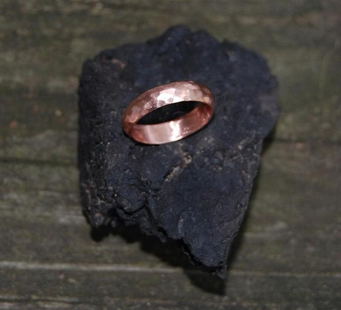 Roughing It Hammered Rose Gold Domed Wedding Band