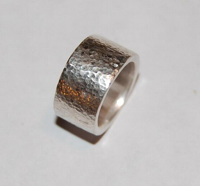 Hammered Thick Sterling Silver Band