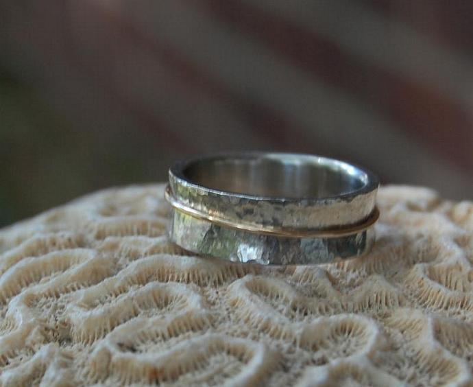 White Gold Hammered Spinner Wedding Band