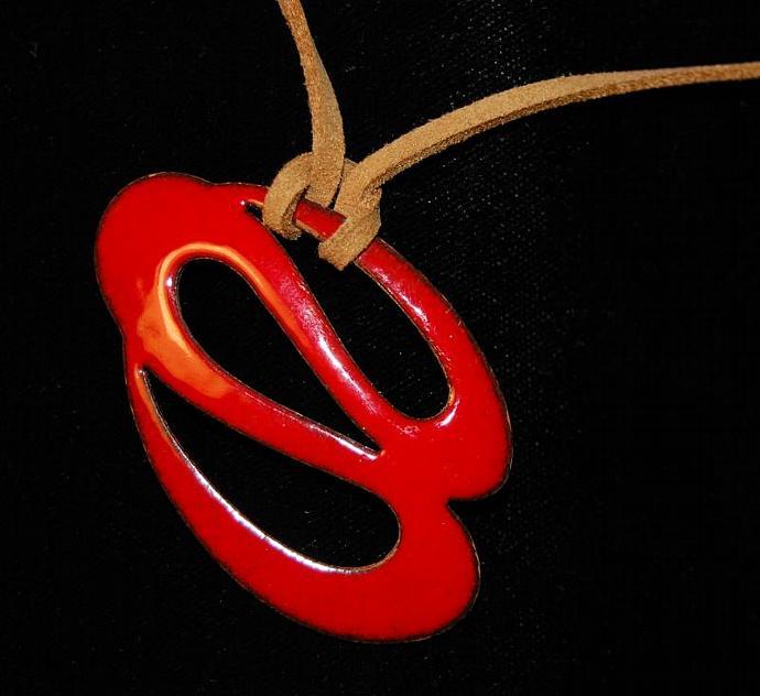 Red / White Swirl reversible Enamel choker