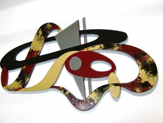 Burgundy and Gold, custom Contemporary Modern Abstract Art Wood Wall Sculpture